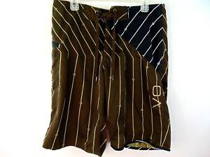 Volcom Mens Board Shorts Size 32 Brown Black Stripe Swimming Trunks