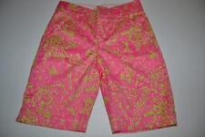 LILLY PULITZER PALM RESORT FIT PINK GREEN FLORAL FLOWER SHORTS WOMENS SIZE 0