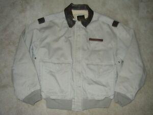 Vintage 90s AVIREX A-2 Cotton Flight Jacket w/ Leather Collar SZ Mens Small