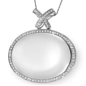 Mirror Of The Polish Necklace 14k White Gold With Clean SI Diamonds. New