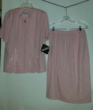 *PABLO Pink SKIRT and Button JACKET -applique front -sz 18 Petite BEAUTIFUL- NWT