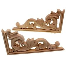 Wood Applique Carved Decal Corner Floral Flower Furniture Home Artesanato Decor