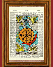 "Tarot Cards ""Wheel of Fortune"" Major Arcana Deck Dictionary Art Print Picture"