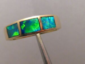 Brilliant Neon color   Opal Ring  3.4 grams 14 k Yellow Gold   size  8