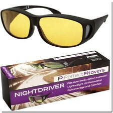 FIT OVER NIGHT DRIVING SUNGLASSES MEN WOMEN GLASSES OVER THE TOP WITH CASE NEW