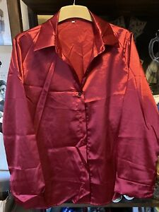 Womens Brand New Red Satin Long Sleeve Blouse Size 16/18 XL Christmas