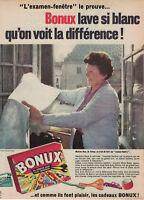 PUBLICITÉ DE PRESSE 1962 BONUX LA LESSIVE AUX 500 CADEAUX LAVE SI BLANC