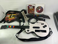 Nintendo Wii Bundle 2 Guitar Band Hero Controllers 2 Games Straps Mic Tested Lot