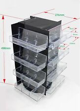1 High Gloss Black 4 Sided 4 Tier Clear Pocket Display on Turntable  QH2209-4X04