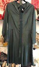 AKRIS Bergdorf Goodman Green Cotton Long Sleeve Shirt Dress Sz 10 $2000+