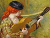 AUGUSTE RENOIR FRENCH YOUNG SPANISH WOMAN GUITAR OLD ART PAINTING PRINT BB4907B