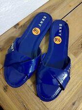 DKNY Women's Kiara Flat Slide Sandal Shoes Size 9 9.5 10 Blue Patent NEW