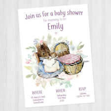 10 x PERSONALISED BABY SHOWER BEATRIX POTTER / PETER RABBIT INVITATION BABY GIRL