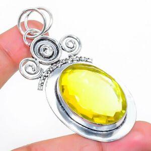 "Citrine Gemstone Handmade 925 Sterling Silver Jewelry Pendant 2.36"" H923"