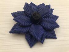 Vintage Art Deco Brooch Blue Layered Leaf Flower Floral Plastic Pin