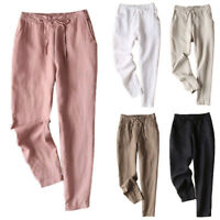 Plus Size Womens Summer Ankle Pants Casual Loose Elastic Waist Trousers Bottoms