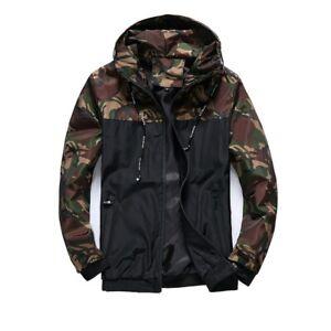 Winter Mens Casual Camouflage Print Hoodie Jacket Coat with Hooded Windbreaker