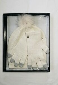 UGG Australia pom pom hat and gloves gift set cream