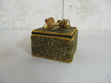 """3"""" Square Jewelry Box Made in India Gold/Yellow in Color"""