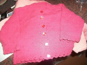 Quality Cotton Hand-Knit Baby Girl 12+Months Cardigan *Raspberry* Lace Edge