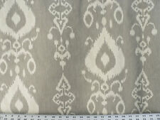 Drapery Upholstery Fabric 100% Cotton Ikat - Ivory Beige on Light Gray