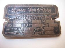 AUTHENTIC AMERICAN PLATE PIONEER GEN-E-MOTOR,DYNAMOTOR-WWII