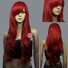 Hot! Dark Red Curly wavy Long Cosplay Wig Free Shipping +cap