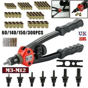 Rivet Nut Gun Hand Blind Riveter 60/150PC  Mandrel Repair Tool Set Metric M3-M12