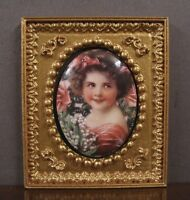 """FRAMED  FIRED  PORCELAIN  PICTURE ~ """"Girl"""" ~Dollhouse~ 1:12 scale ~ Room Box"""