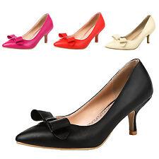 kala womens Ribbon Mid Heel High Heels Pretty Party court Shoes Plus Size 0-11