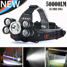 50000LM 5-Head CREE XML T6 LED 18650 Headlamp Headlight Flashlight Torch Light