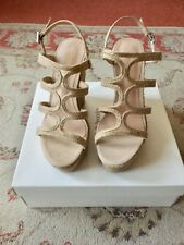 RUSSELL AND BROMLEY RAFFIA SUEDE WEDGE OPEN TOE Size 7/40