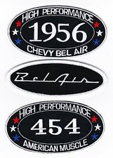 1956 CHEVY BEL AIR 454 SEW/IRON ON PATCH BADGE EMBLEM EMBROIDERED