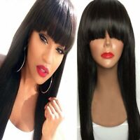 Glueless Straight Wig With Bangs Bob Human Hair Wig Lace Front Pre-Plucked US