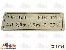 AUTOCOLLANT NEUF (STICKER) plaque de tare citroen 2CV AK400 après 1975  -1754-