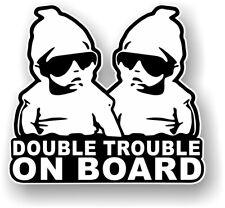 B&W Double Trouble On Board Twins Baby Child Window Bumper Car Sticker 135x125mm