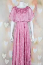 VTG 70s BOHO Lovely *DUSTY ROSE* Floral GRECIAN Pleated Disco MAXI DRESS XS-S