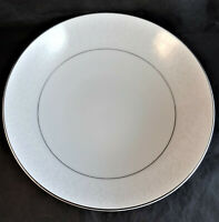 Mikasa Bridal Veil Round Vegetable Serving Bowl White Scrolls 5559 Platinum Trim