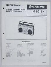 SANYO M9915K Cassette Boombox Original SERVICE MANUAL Ghetto Blaster M-9915K