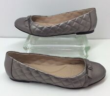 d8e173470cc Lands End Pewter Metallic Quilted Leather Slip On Ballet Comfort Flats Size  10 B