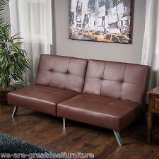 Living Room Furniture Modern Brown Tufted Vinyl Click Clack Futon Sofa Bed
