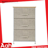 Storage Unit with 3 Easy Pull Fabric Drawers 3-Tier Dresser Drawer for Closets