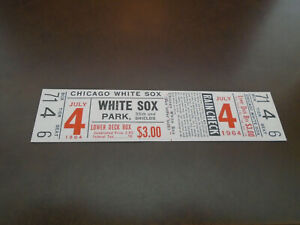 JULY 4, 1964 INDIANS AT WHITE SOX FULL TICKET FRITZ ACKLEY PICTURE ON BACK