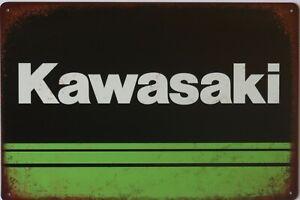 Kawasaki Motorcycle Metal Garage Sign Wall Plaque Vintage mancave 8 x 12 inches