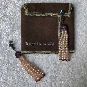 Ross and Simons pink freshwater pearl/rhodolite tassel earrings