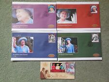 FALKLAND ISLANDS QUEEN MOTHER SET OF FIRST DAY COVERS X 4 & LARGE STAMP MINT