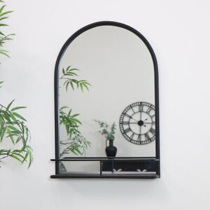 Large Black Arched Mirror with Shelf storage home decor industrial bathroom