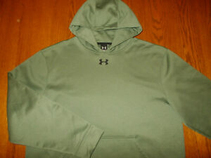 UNDER ARMOUR OLIVE GREEN HOODED SWEATSHIRT MENS XL NICE CONDITION