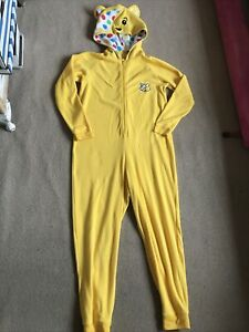 Pudsey Bear Children In Need Yellow All-in-one Hooded Sleepsuit S Uk 10-12