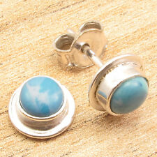 """Beautiful Simulated LARIMAR Gem Everyday Earrings, Silver Plated Jewelry 0.4"""""""
